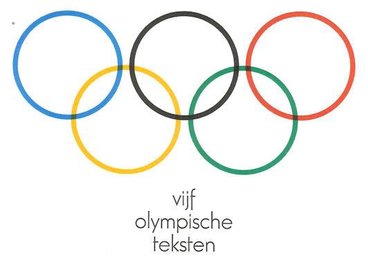 Showing image from the cover a poetry pamphlet published for the 1972 Olympics. Showing the Olympic symbol of five rings and the text 'vijf olympishe teksten'