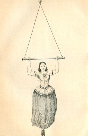 """Illustration of a lady hanging from a """"hand swing"""""""