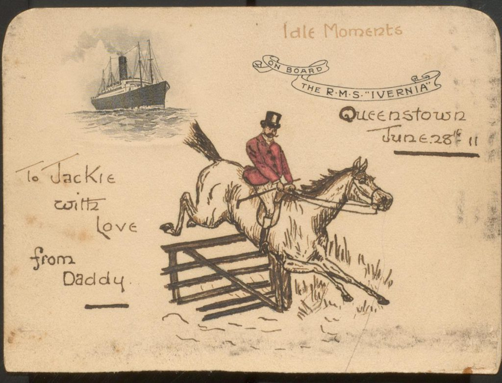 """Postcard showing horse jumping fence and text """"Jackie with love from Daddy"""""""