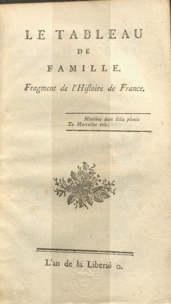 Title page of French Revolution pamphlet showing date