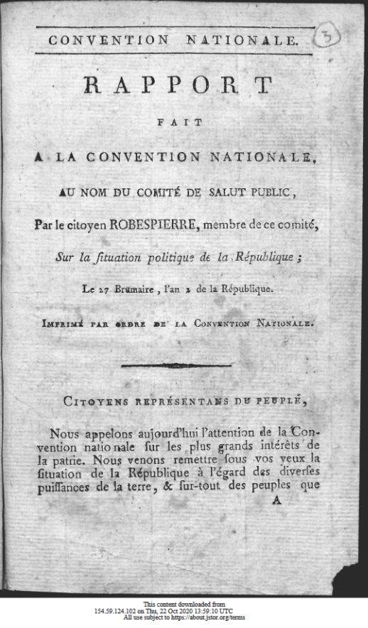 Pamphlet showing French Revolutionary date