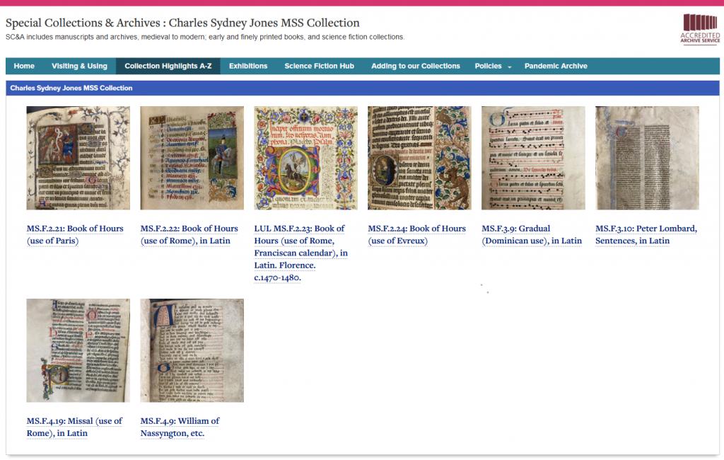 Screenshot of Charles Sydney Jones MSS page