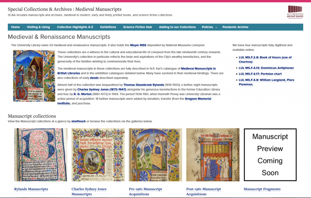 Screenshot of the medieval and renaissance mss catalogue page