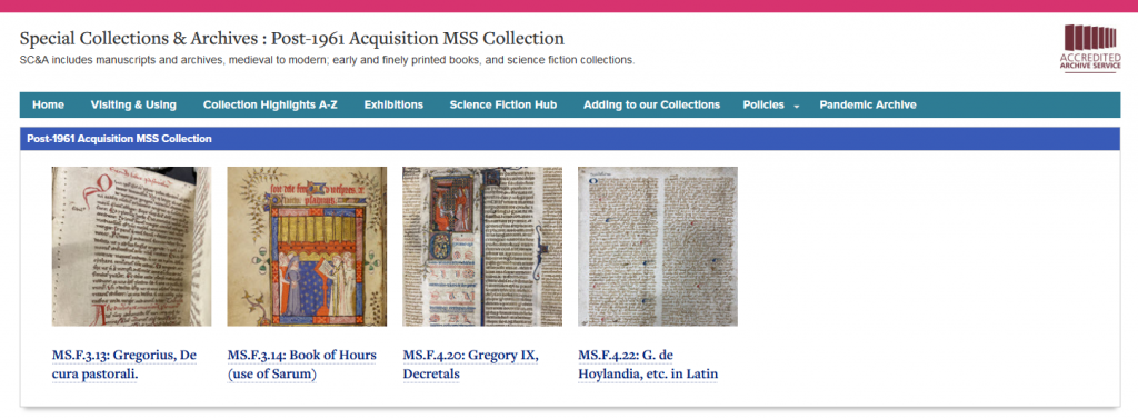 Screenshot of post-1961 MSS accessions page