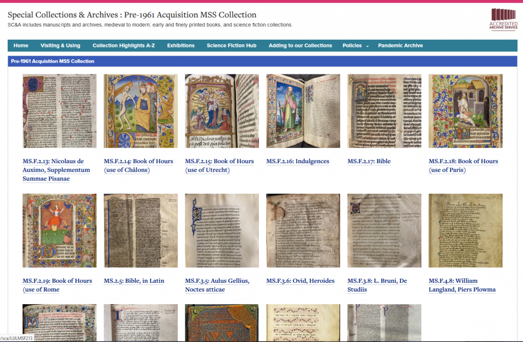 Screenshot of pre-1961 MSS accessions page