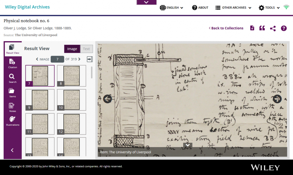 """Screenshot of """"Result View"""" on the Wiley Digital Archives platform. Showing thumnail images of notebook pages on the left hand side and, on the right, the page that has been selected zoomed in."""