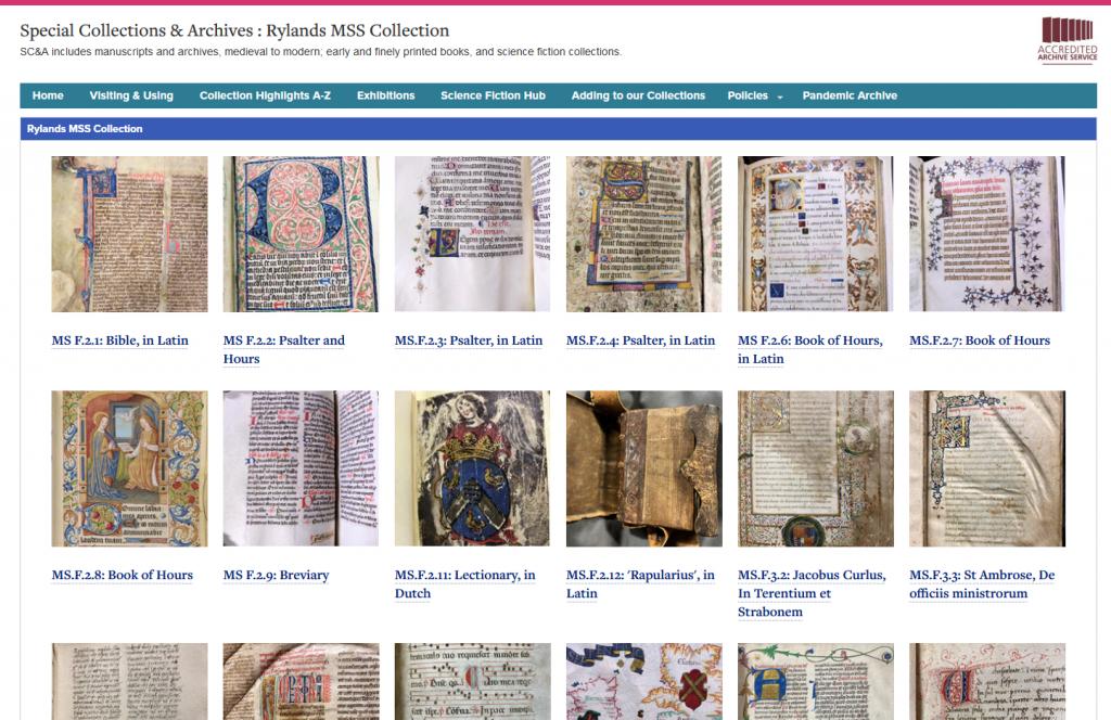 Screenshot of Rylands MSS page