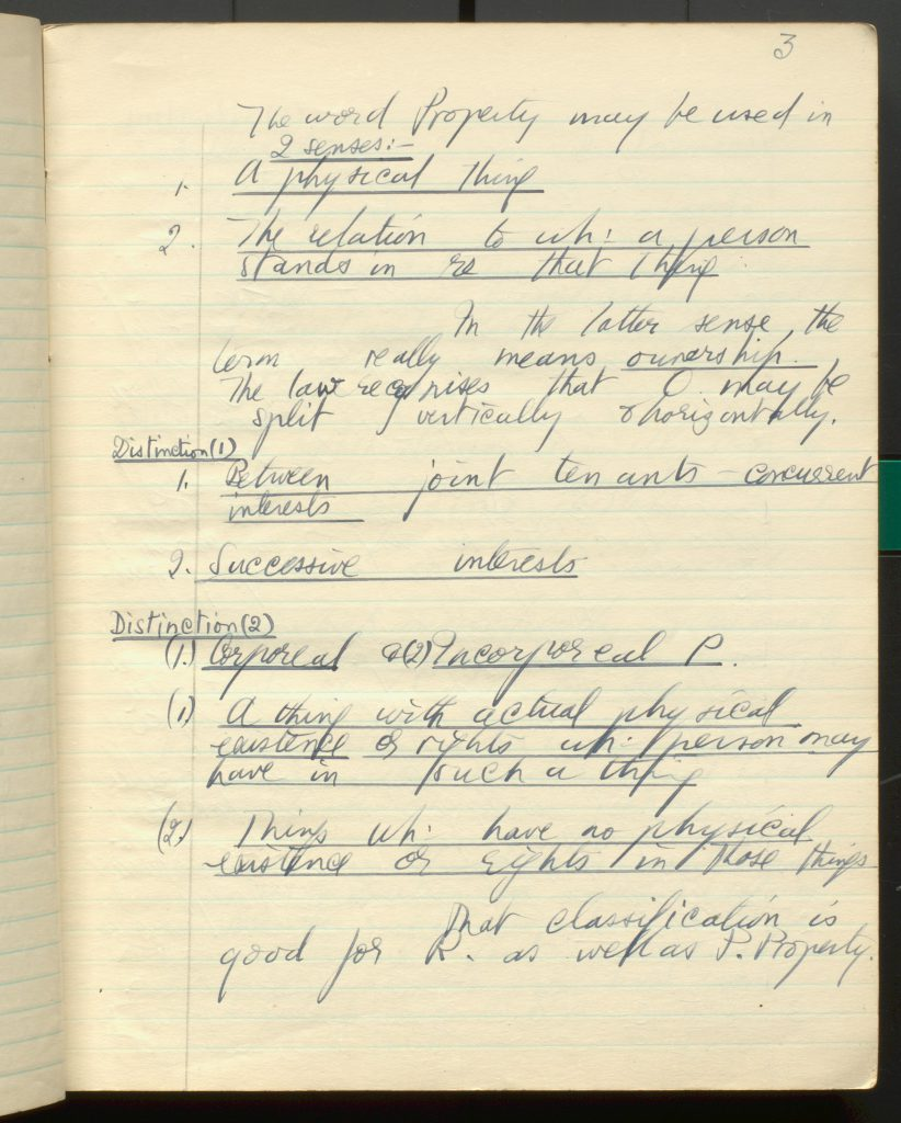 Page of handwritten notes on property law