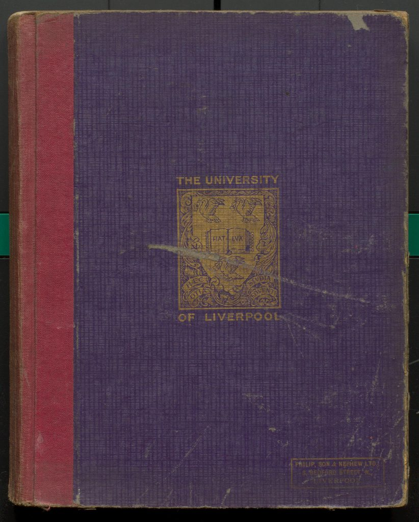 Front cover of notebook showing University of Liverpool crest
