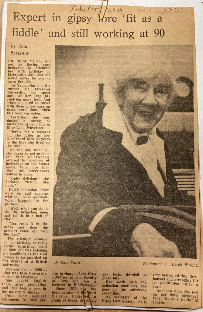 """Newspaper article """"Expert on Gipsey lore """"fit as a fiddle"""" and still working at 90."""