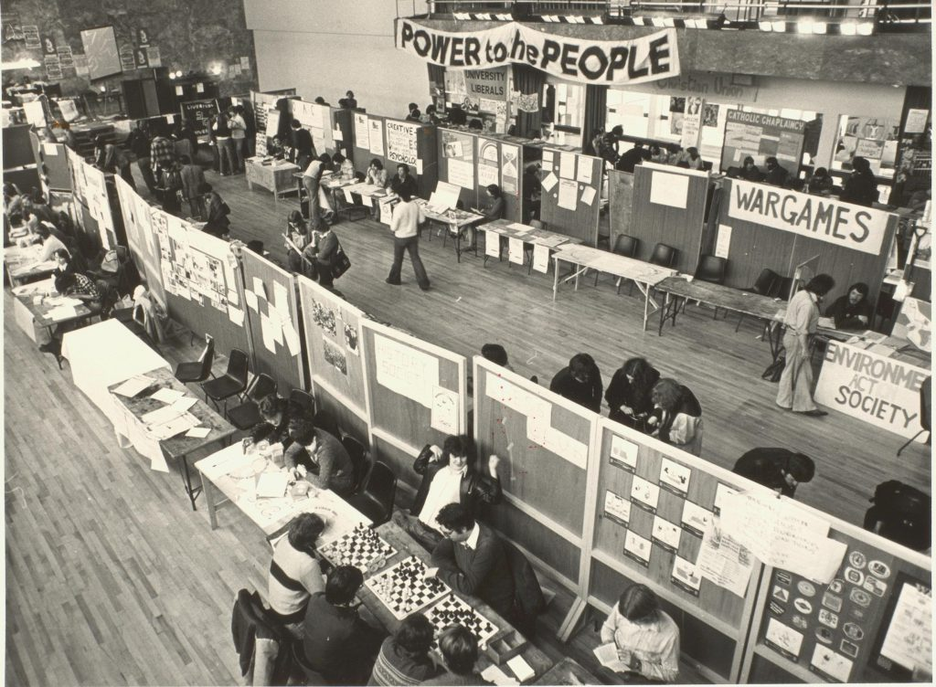 Mountford hall with student fair stands