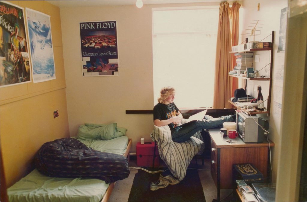 student in accommodation bed room