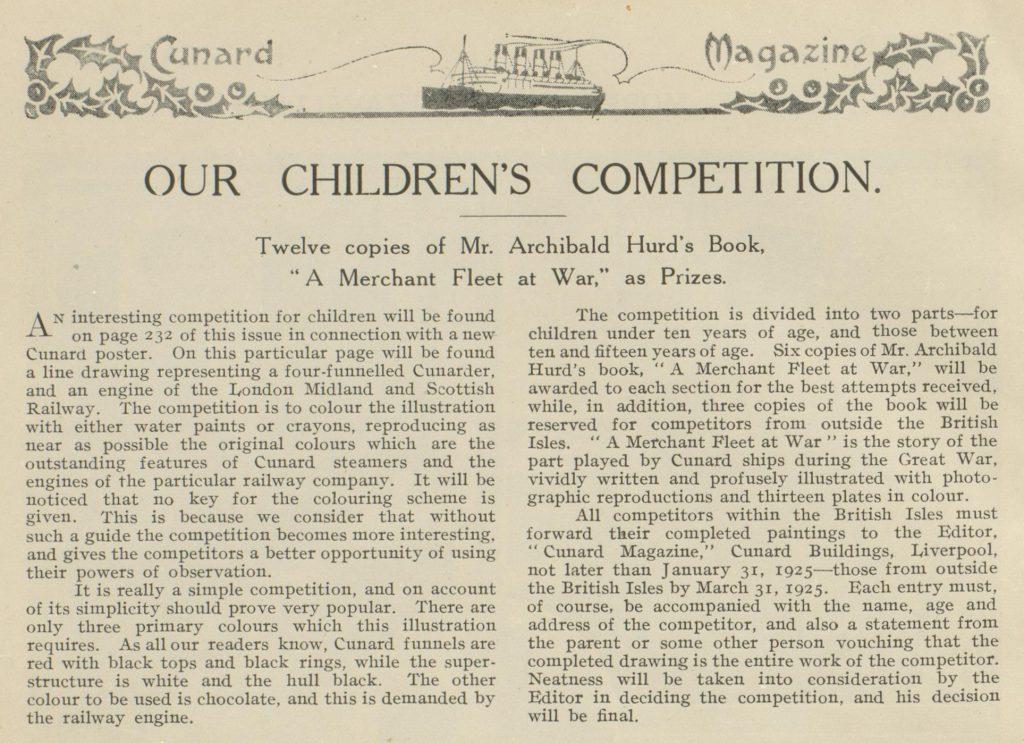 Cunard magazine children competition