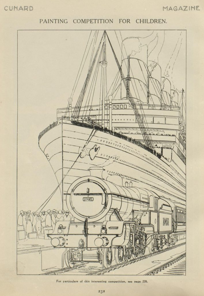 Cunard magazine children colouring in competition