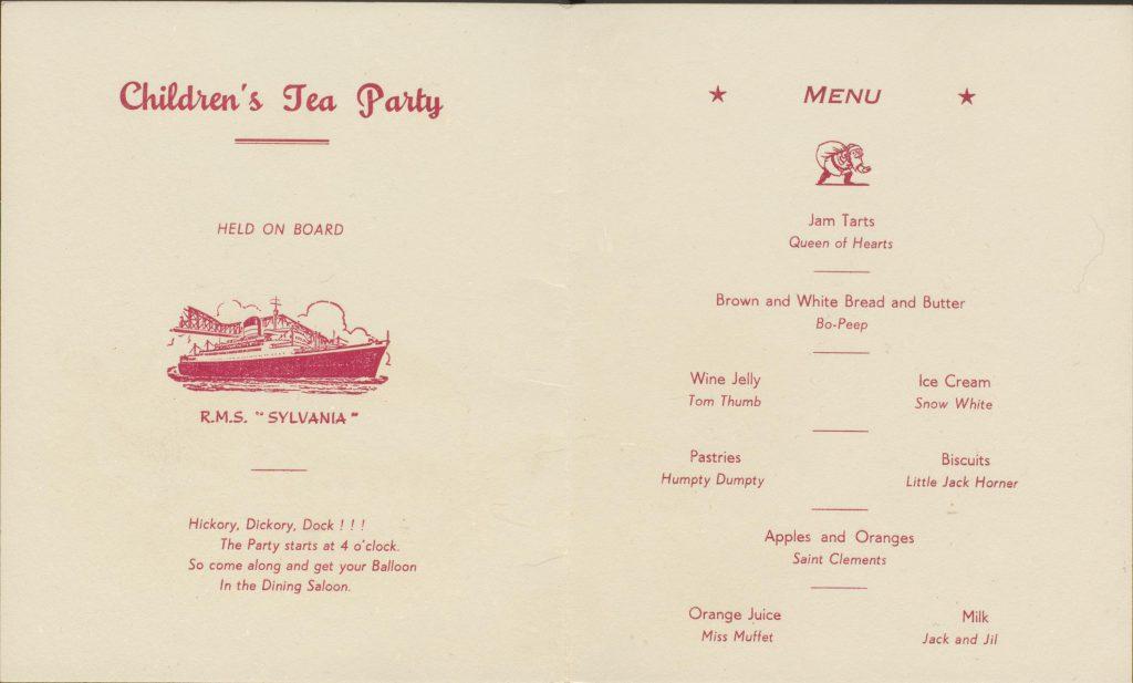 children's menu card