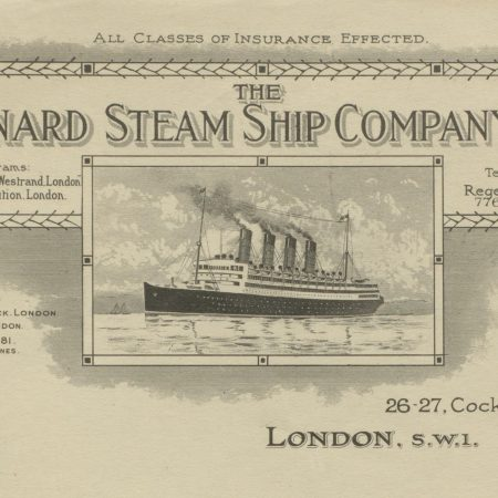 Cunard letter headed paper