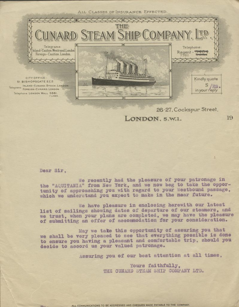 Example letter from Lucy Squire's workbook