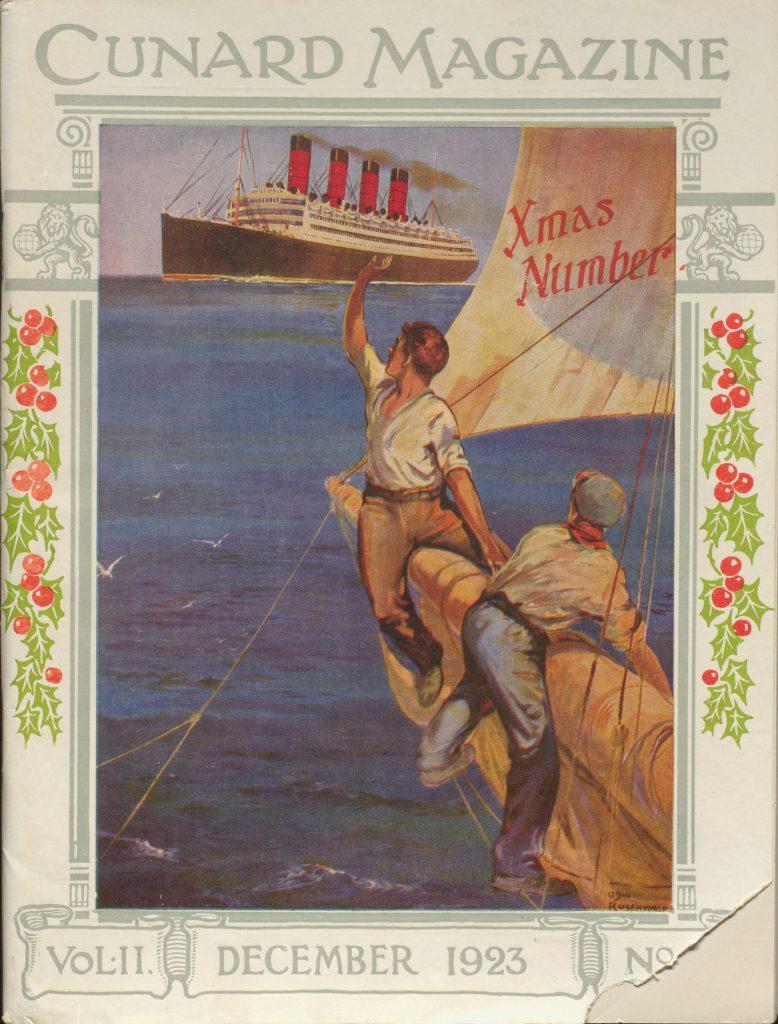 Cunard magazine cover 1923 Christmas edition